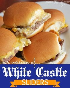Make Your Own White-Castle Sliders1 1/2 pounds hamburger, 1 package Lipton onion soup mix, 1 tablespoon peanut butter (yes, peanut butter.. trust me), 1/2 cup milk, 1 onion, finely chopped, Sara Lee Classic Dinner Rolls (or the really soft small-sized dinner rolls from the bakery), cheese slicesIn large bowl mix the hamburger, onion soup mix, peanut butter, and milk. Spread the meat mixture on a cookie sheet. Use a rolling pin to roll over the meat to smooth it out. Bake at 350 degr...