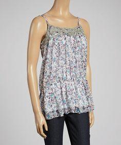 Another great find on #zulily! Purple & Blue Floral Tie-Waist Tank Top by Janet Paris #zulilyfinds