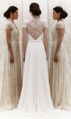Wedding gown ... flowy white dress ... beautiful back detail   Jenny Pakham 2013 collection ... rustic glamorous, vintage, country elegance, shabby chic, boho, whimsical