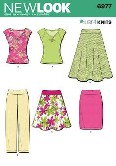6977 Misses' Knit Separates New Look Just 4 Knits sewing pattern. Misses' top, pull-on full & slim skirts and pull-on pants.- for the elastic waist straight skirt New Look Patterns, Sewing Patterns For Kids, Simplicity Patterns, Clothing Patterns, New Look Women, Dress Making Patterns, Look Vintage, Straight Skirt, Sewing Clothes