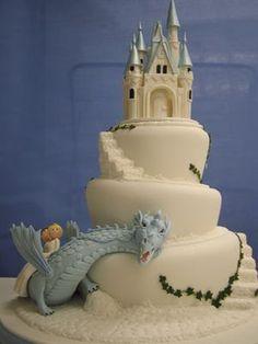 Torta de boda con castillo, dragón y pareja de enamorados - ウェディングケーキ19