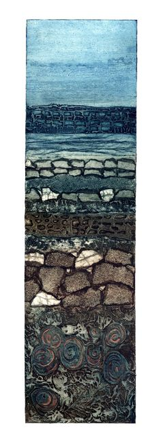 Sue Lowe 'Kilve VI' Collagraph print. One of a series inspired by the unique landscape of Kilve beach, West Somerset.