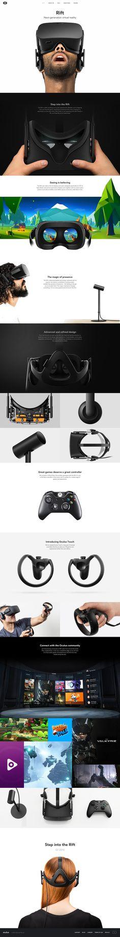 Oculus Rift landing page design inspiration - Lapa Ninja Design Web, Page Design, Webdesign Inspiration, Web Inspiration, Virtual Reality Goggles, Augmented Reality, Web Layout, Layout Design, Rollup Design