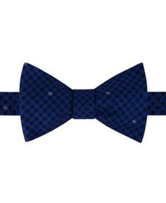 Tommy Hilfiger Men's Small Gingham Star To-Tie Silk Bow Tie - Blue