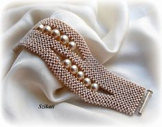 Beaded beige seed bead pearl cuff bracelet OOAK jewelry by Szikati.