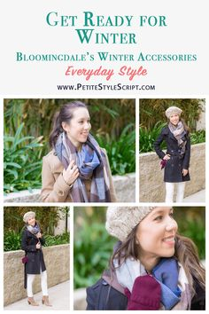 Bloomingale's Winter Accessories Review | Aqua brand | C by Bloomingdale's brand | Cashmere gloves | Colorblock blanket scarf | Tech-friendly gloves mittens | Chunky braided beret | Burberry Daylesmoore Gibbsmoore Wool Coat Review | Vince Camuto Franell Booties | Paige White Denim Jeans | Best Petite Fashion Style Blog