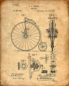 Patent Print of a Bicycle From 1887  Patent Art by VisualDesign