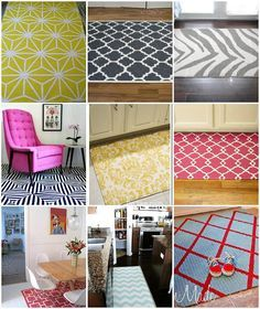 Gold with blk rug for dininf room -How to Paint a Rug — Seven Tips  for a Perfectly Painted Rug!