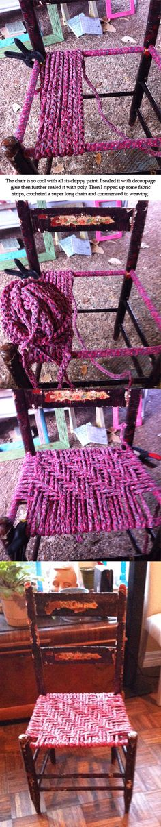 The chair is so cool with all its chippy paint. I sealed it with decoupage glue then further sealed it with poly. Then I ripped up some fabric strips, crocheted a super long chain and commenced to weaving.