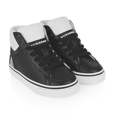 Burberry Black Leather & Check Lockhart High Top Trainers