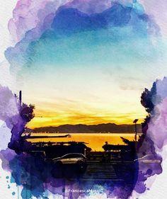 Cagliari - Marina di Bonaria. #crepuscolo #dusk #tramonto #sunset #congliocchidiunturista #bonaria #cagliari #sardegna #sardinia #italy #italia #cultura #culture #tourism #turismo #natura #nature #sea #mare #sun #sole #watercolor #acquerello #mediterraneo #mediterranean #marinadibonaria #waves #onde #centrostorico #panorama #landscape