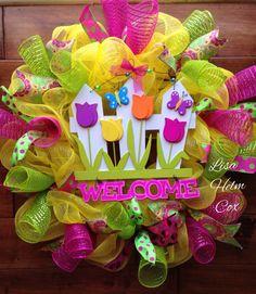 Welcome Tulips yellow deco mesh wreath