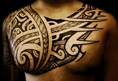 One of the most commonly tattoos on men and women are tribal tattoos. The tribal tattoos designs not only signify the age old traditional beliefs. Polynesian Tribal Tattoos, Cool Tribal Tattoos, Tribal Tattoos For Women, Cool Chest Tattoos, Chest Tattoos For Women, Chest Piece Tattoos, Tribal Sleeve Tattoos, Unique Tattoos, Body Art Tattoos