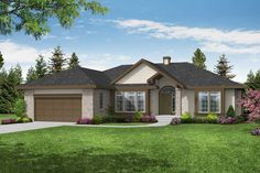 This inviting ranch style home with transitional features (Plan #108-1395) has over 2020 sq ft of living space. The one story floor plan includes 3 bedrooms. #ranch #houseplan