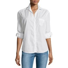 Frank & Eileen Eileen Button-Front Poplin Shirt ($198) ❤ liked on Polyvore featuring tops, white, poplin shirt, white long sleeve top, relaxed fit shirt, shirt top and spread collar shirt