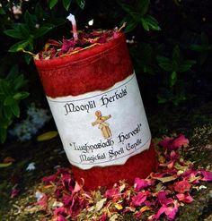 Lughnasadh Harvest Herbal Spell Candle - Lammas, Prosperity, Abundance, Fall Bounty, Fertility, Fruitfulness, Mac Apple, Caramel Corn