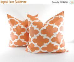SALE Orange  Pillow cover. Set of 2 Moroccan Quatrefoil