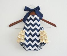 Navy/White Chevron Retro Style Sunsuit Romper / by xxLittleBoatsxx, $37.00