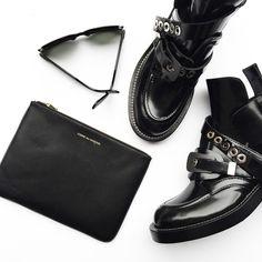 Balenciaga ceinture boots and Comme Des Garçons pouch. Flat lay via OVRSLO. #flatlay #ovrslo