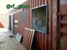 window and covers // privacy & security Cargo Container Homes, Container Shop, Building A Container Home, Container Cabin, Container House Design, Shipping Container Buildings, Shipping Container Design, Shipping Container House Plans, Shipping Containers