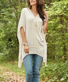 4ea830b72caf6 Suzanne Betro Weekend Stone Lace-Trim Cape-Sleeve Sidetail Tunic - Women    Plus