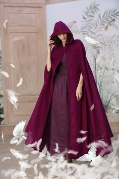 hooded wool cloak, maxi wool coat in mulberry colors), cashmere cloak cape, pure wool cape, holiday gift Hooded Wool Coat, Hooded Cloak, Wool Poncho, Wool Cape, Winter Cape, Cashmere Cape, Maxi Coat, Flattering Dresses, Military Fashion