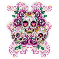 7X9 - 3 SUGAR SKULLS WITH FLORAL BACKGROUND - 3 skulls, Day of the Dead, dia de los muertos, ethnic, Fashion, latin, pink roses, Plastisol Transfer, sugar skull, Latin, Ethnic Cultures, Ladies Fashion, Pop Culture, GRAPHICS, COLORFUL