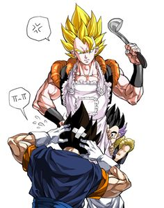 Gogeta, Vegito, and Gotenks Dragon Ball Gt, Fairytail, Goku Y Vegeta, Gogeta And Vegito, Dragon Super, Manga Anime, Anime Art, Otaku, Manga Dragon