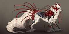Comm: Crimson Snow QuillDog Design by MischievousRaven on DeviantArt : Comm: Crimson Snow QuillDog Design by MischievousRaven Mythical Creatures Art, Magical Creatures, Fantasy Creatures, Creature Drawings, Animal Drawings, Cool Drawings, Fantasy Wolf, Fantasy Beasts, Creature Concept Art