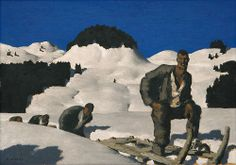 Alfons Walde (Austrian, Holzzieher [Woodcutter], Oil on board, x cm Town And Country, Contemporary Paintings, Painting Techniques, Painting & Drawing, Austria, Museum, Snow, Oil, Mountains