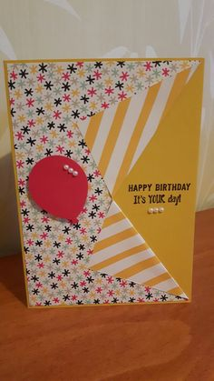Birthday card, Stampin Up It's my Party DSP, balloon punch, Confetti Celebration stamp set