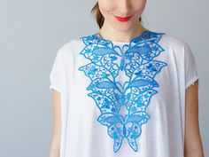 Fiordi Blue Necklace Venise Lace Necklace Lace Jewelry Bib Necklace Statement Necklace Body Jewelry Lace Fashion Fashion Accessory