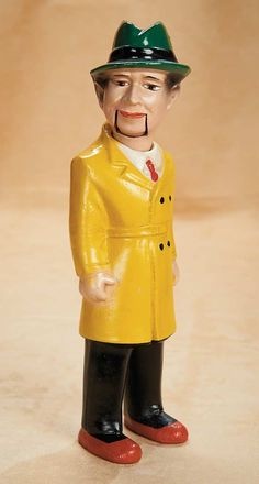 "13"" composition Dick Tracy figure, with ""talking"" hinged jaw, based on the Chester Gould comic strip character published by the Chicago Tribune New York News Syndicate, United States, 1932-39, maker unknown."