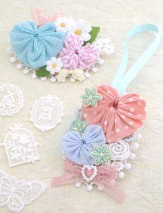 Hair & Bag accessory of Heart Yo Yo quilt . Craft for kids.