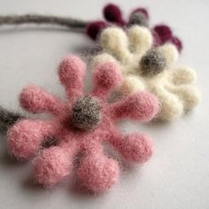 Woolly Bobble Flower Choker Necklace - purple, pink and white. Ollies Woolies