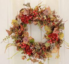 Fall Berries and Florals Decorative Door Wreath (22-24 inch)
