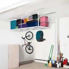 It is very suitable for garage uses. High quality storage racks help to make your garage a more functional space for your vehicles. Made of heavy duty solid steel, the ceiling storage rack can hold totally Overhead Storage Rack, Ceiling Storage Rack, Garage Storage Racks, Garage Shelving, Garage Organization, Shelves, Organization Ideas, Kayak Storage, Garage Plans