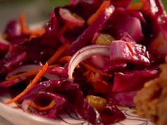 Get Red Cabbage coleSlaw Recipe from Food Network Sauteed Red Cabbage, Red Cabbage Recipes, Cabbage Slaw, Vegetarian Cabbage, Vegan Vegetarian, Vegetarian Recipes, Healthy Recipes, Yummy Recipes, Free Recipes