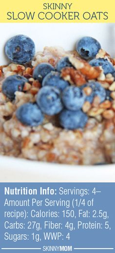This breakfast recipe is DELICIOUS and super filling! Only 4 WWP and 150 calories! Slow Cooker Oats, Slow Cooker Breakfast, Breakfast Dishes, Slow Cooker Recipes, Crockpot Recipes, Breakfast Recipes, Snack Recipes, Cooking Recipes, Healthy Recipes