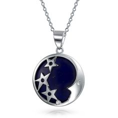 Dyed Blue Lapis Stone CZ Stars Moon Pendant Necklace 925 Silver... ($63) ❤ liked on Polyvore featuring jewelry, blue, theme jewelry, blue pendant necklace, cz pendant necklace, silver jewelry, cz jewelry and stone jewelry