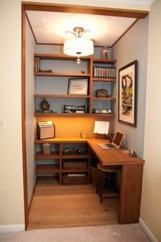 Design Office Room - A home office should be a comfy place, where you can focus without a distraction. A basement home office can provide you the peace you want from the bustle of your home, however in the home. Tiny Office, Office Nook, Home Office Space, Home Office Design, Home Office Decor, Home Design, Home Decor, Office Ideas, Closet Office
