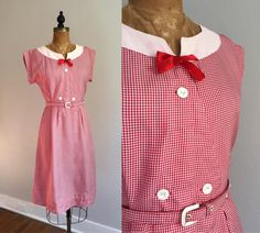 Vintage 1950s Gingham Dress / 40s 50s 60s Micro Check Picnic Rayon Dress - Medium/Large