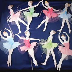 Ballerina Banner Garland Ballerinas wearing pastel tulle tutu's dance across the wall in her bedroom perfect for Birthday Party or Baby Girl Shower