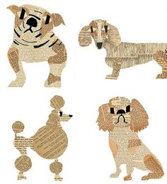 Paste was founded in 2009 Denise Fielder, paste series, Paste Dog Series at… Arte Elemental, Dog Milk, Ecole Art, Newspaper Crafts, Newspaper Collage, Dog Crafts, Recycled Art, Cat Design, Art Plastique