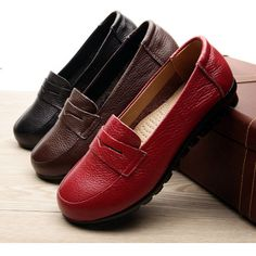 genuine leather women flat shoes loafer work office comfortable shoes