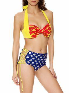 Did somebody say Wonder Woman swimsuit!!  DC Comics Wonder Woman Retro Swim Top | Hot Topic