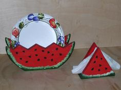 paper plate holders | Paper Plate and Napkin Holder Set Watermelon Theme by WOODNUTTS Paper Plate Holders, Paper Plates, Wood Crafts, Diy And Crafts, Wooden Shapes, Carpentry, Watermelon, Napkins, Wood Carvings