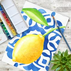 lemon clipart, summer clipart, lemon watercolor, mosaic clipart, ceramic pattern, azure clipart, citrus clipart, floral clip art, azulejos Set of watercolor citrus illustrations with lemons, oranges and flowers with blue ceramic patterns. Perfect for summer stationery, invitation card, website, label, scrapbooking, creative projects, wedding invitation, prenuptial celebration, birthday, baby shower, cardmaking, planner, printables stickers, posters, textile printing Lemon Painting, Lemon Watercolor, Watercolor Drawing, Watercolor Illustration, Halloween Mignon, Websites Like Etsy, Summer Clipart, Pink Paper, Art Mural