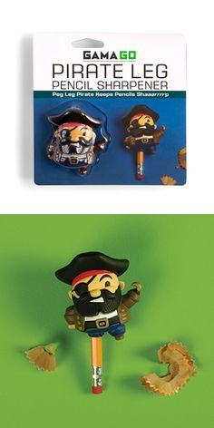 Peg Leg Pirate pencil sharpener. Keeps pencils shaaarrrrrp!!