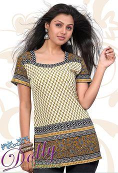 Off White & Mustard Printed Short Sleeves Crepe Kurti/ Indian Tunic Top